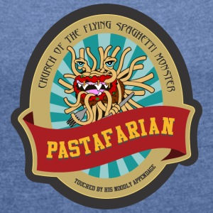church of flying spaghetti monster with forks - Women's T-shirt with rolled up sleeves