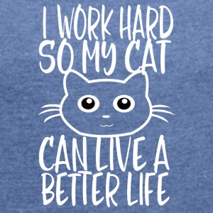 CAT WORK HARD - T-shirt med upprullade ärmar dam