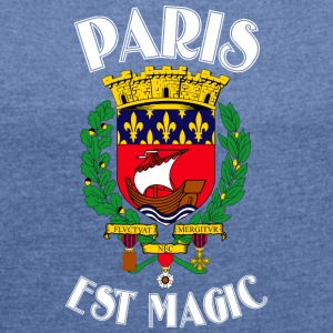 Paris Is Magic Blue - Vrouwen T-shirt met opgerolde mouwen