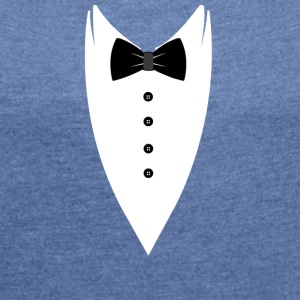 Tuxedo-Bow Tie T-SHIRT - Women's T-shirt with rolled up sleeves