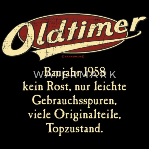Geburtstag Oldtimer Baujahr 1958 Retro Usedlook Von Rahmenlos