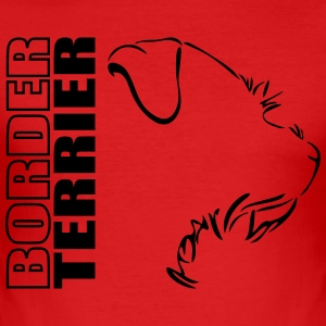 BORDER TERRIER PROFIL WILSIGNS - Männer Slim Fit T-Shirt