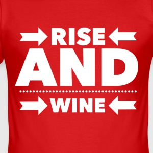 Rise and Wine, dricker pub rolig t-shirt - Slim Fit T-shirt herr