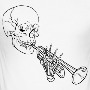Skeleton med Trumpet - Slim Fit T-skjorte for menn