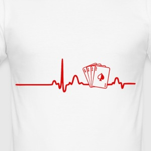EKG Heart Line Poker, Cards - slim fit T-shirt