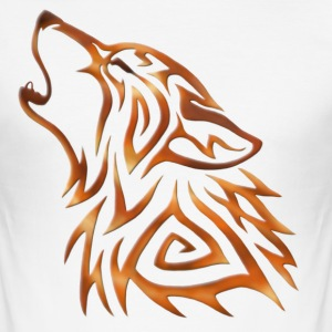 Tribal Wolf Howl Copper Flame - Men's Slim Fit T-Shirt