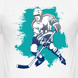 hockey puck hockey player attacking cool polar bears - Men's Slim Fit T-Shirt