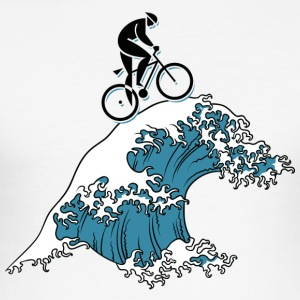 Bicycle Cycling Japanese Tsunami - Men's Slim Fit T-Shirt