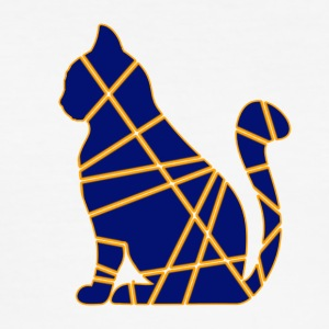 Yellow-Blue Cat - Slim Fit T-skjorte for menn