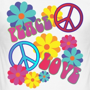 love peace hippie flower power - Männer Slim Fit T-Shirt