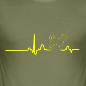 ECG HEART LINE HACHIKO yellow - Men's Slim Fit T-Shirt