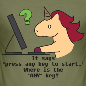 Unicorn: Unicorn searchs the ANY key - Men's Slim Fit T-Shirt