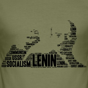 lenin stencil word cloud - slim fit T-shirt