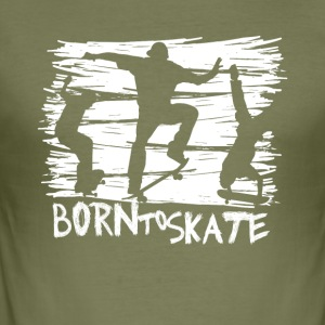 born to skate 3 skateboard halfpipe cool fun weiß - Männer Slim Fit T-Shirt