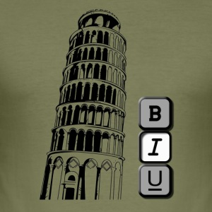 Tower of Pisa i kursiv - Slim Fit T-skjorte for menn