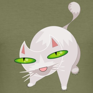 Cat with Green Eyes - Men's Slim Fit T-Shirt