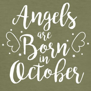 Angels are born in October - Men's Slim Fit T-Shirt