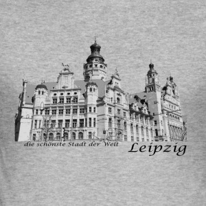 Leipzig City Hall with signature - Men's Slim Fit T-Shirt