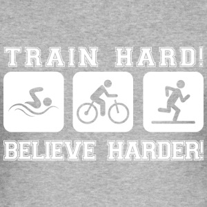 Harde trein! Geloof Harder! - slim fit T-shirt
