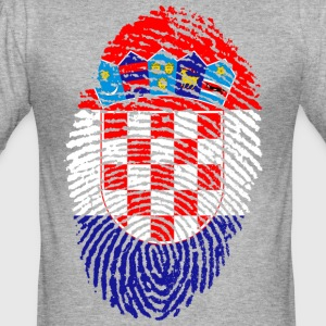 KROATIEN FINGERABDRUCK T-SHIRT - Männer Slim Fit T-Shirt