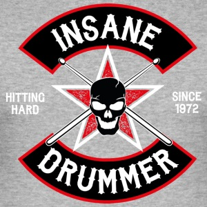 Insane Drummer - Biker Logo - Hitting Hard - Men's Slim Fit T-Shirt