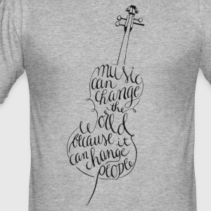 cello kalligrafi - Slim Fit T-skjorte for menn