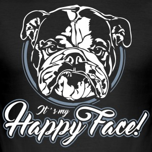 English Bulldog happy face - Männer Slim Fit T-Shirt