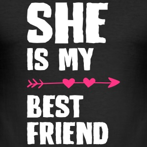 She is my best friend Left - Men's Slim Fit T-Shirt