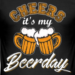 Skålen er min Beerday - Slim Fit T-skjorte for menn