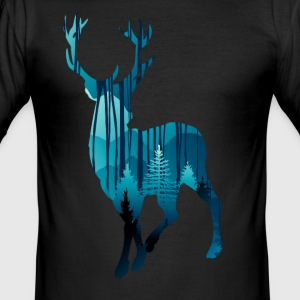 Deer in the woods in the evening - Men's Slim Fit T-Shirt