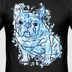 French Bulldogge Frenchie Dog Bully Blue - Men's Slim Fit T-Shirt