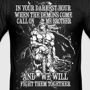 In your darkest hour call on me (hell) - Männer Slim Fit T-Shirt