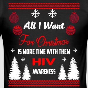 HIV Awareness! All I Want For Christmas! - Men's Slim Fit T-Shirt
