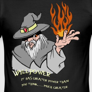 Willenskraft Wizard Grau / orange Flamme - Männer Slim Fit T-Shirt