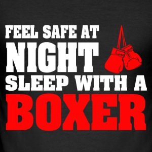 SLEEP WITH A BOXER - Men's Slim Fit T-Shirt