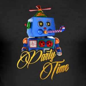 Søde Party Time Robot - Herre Slim Fit T-Shirt