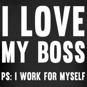 I love my boss - T-Shirt - black - Men's Slim Fit T-Shirt