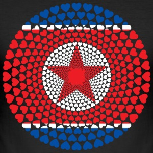 North Korea North Korea 민주주의 인민 공화국 공화국 Heart Mandala - Men's Slim Fit T-Shirt