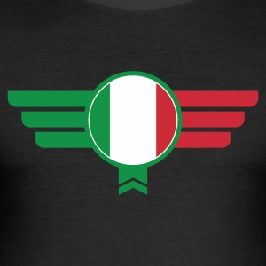 Italia Italia Flag Insignia - Slim Fit T-skjorte for menn