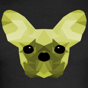 French Bulldog Low Poly Design green - Männer Slim Fit T-Shirt