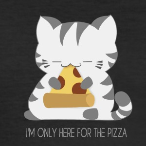 Kat spise en pizza - Herre Slim Fit T-Shirt
