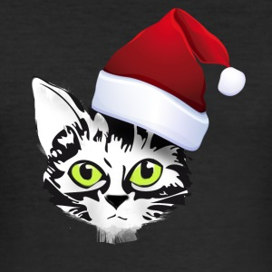 xmas katt i Santa Kitty søte ansikt pels grønt - Slim Fit T-skjorte for menn