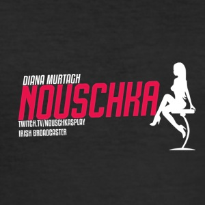 Nouschkasplay Sporty Logo Twitch pink_white_01 - Männer Slim Fit T-Shirt