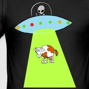 Cow and UFO - Men's Slim Fit T-Shirt