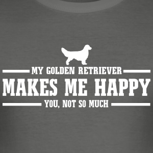 Golden retriever gör mig glad - Slim Fit T-shirt herr