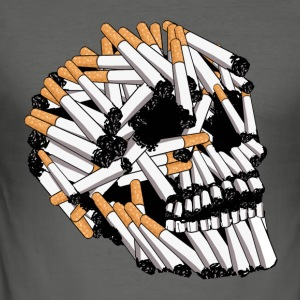 skull and cigarette, skull - Men's Slim Fit T-Shirt