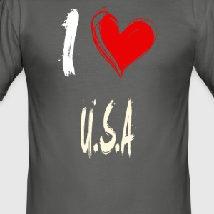 I love U.S.A - Männer Slim Fit T-Shirt