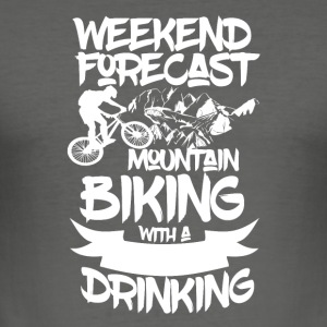 Mountainbike og drikkevarer - Weekend Prognoser - Herre Slim Fit T-Shirt