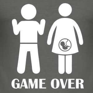 GAME OVER Pregnant - Men's Slim Fit T-Shirt