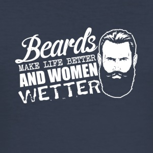 Pun - beards and women - sex, women wet - Men's Slim Fit T-Shirt